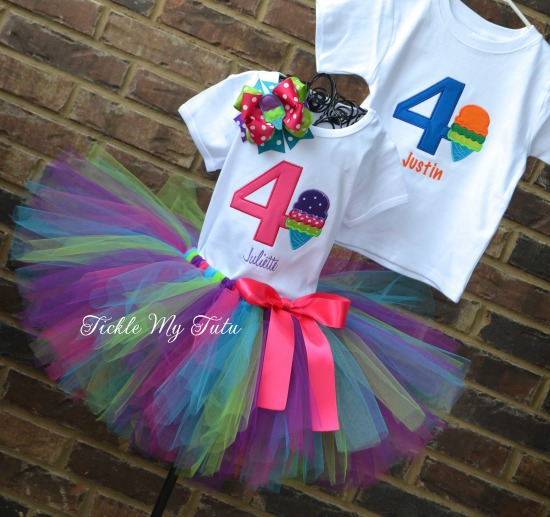 Boy/Girl Twin Ice Cream Party Birthday Tutu Set