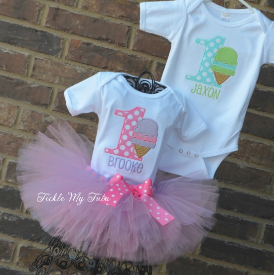 Boy/Girl Twin Ice Cream Party Birthday Tutu Set (Pastel Colors)