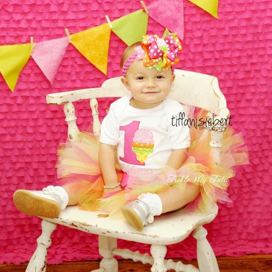 "Ice Cream Party ""Adalynn"" Birthday Tutu Outfit"