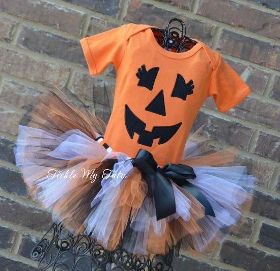 Little Pumpkin Halloween Tutu Costume (orange, black, and white tutu)