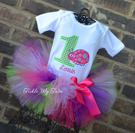 Pink and Purple Ladybug Birthday Tutu Outfit (Lime Gingham Number)