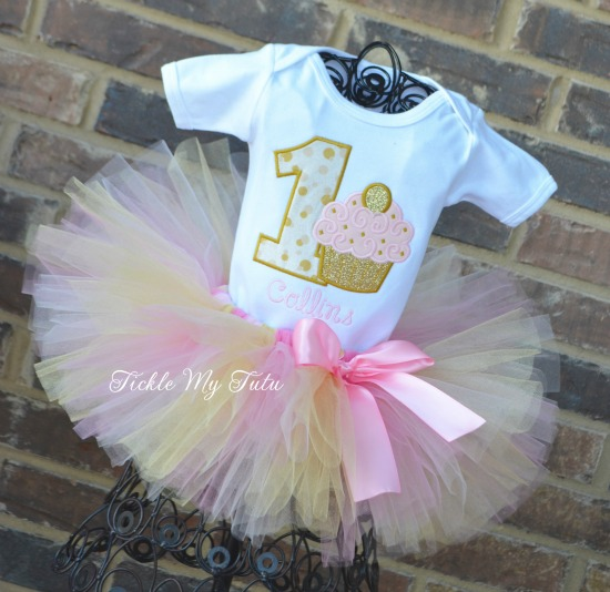 Light Pink and Gold Birthday Cupcake Tutu Outfit