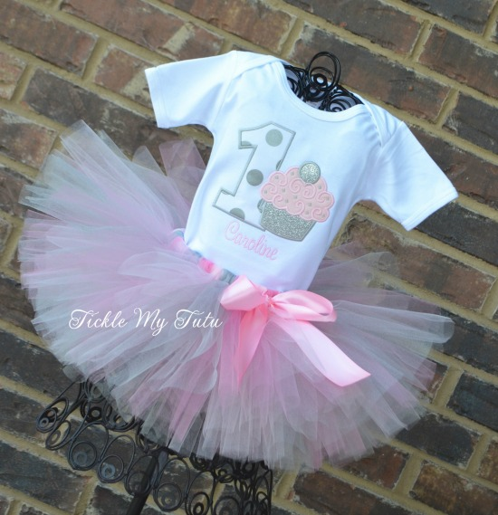 Light Pink and Silver Birthday Cupcake Tutu Outfit