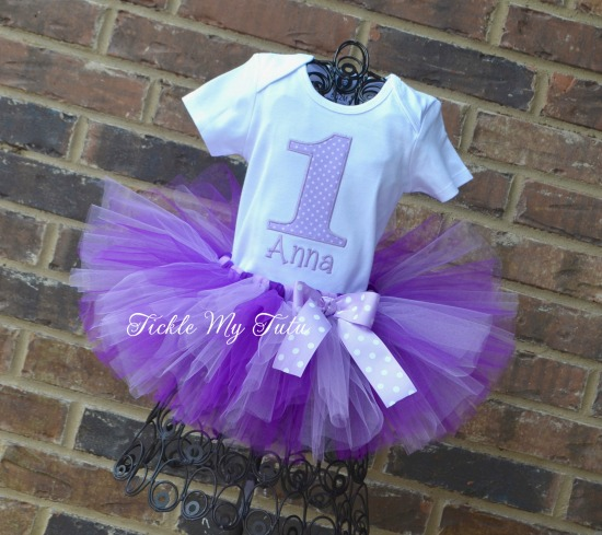 Lilac and Purple Polka Dot Birthday Number Tutu Outfit