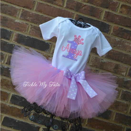 Lilac Polka Dot and Pink Birthday Crown Tutu Outfit (Anaya)