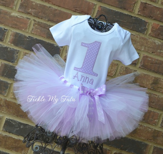 Lilac and White Polka Dot Birthday Number Tutu Outfit