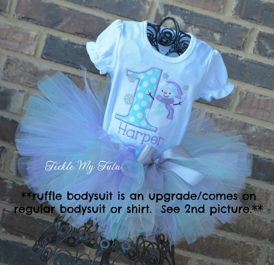 Winter ONEderland Aqua and Lilac Snowman Birthday Tutu Outfit
