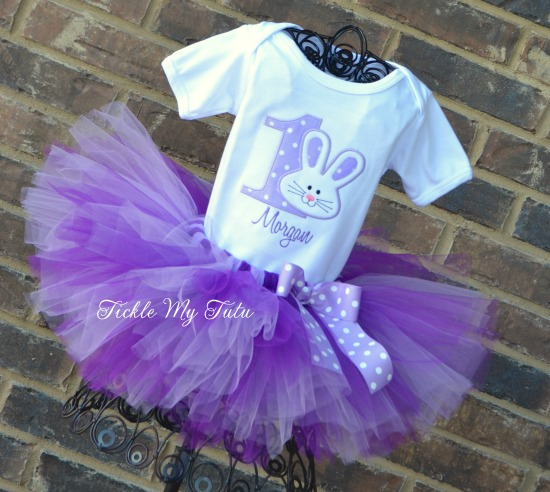 Some BUNNY Is ONE Birthday Tutu Outfit (Lilac and Purple)