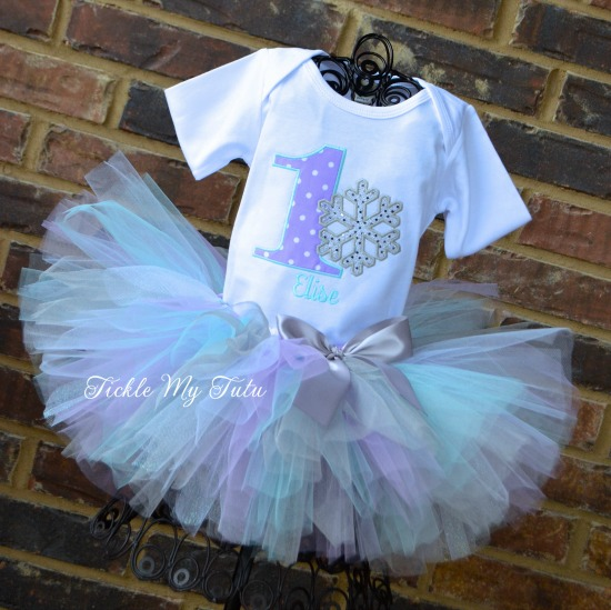 Winter ONEderland Lilac Dot and Aqua Snowflake Birthday Tutu Outfit