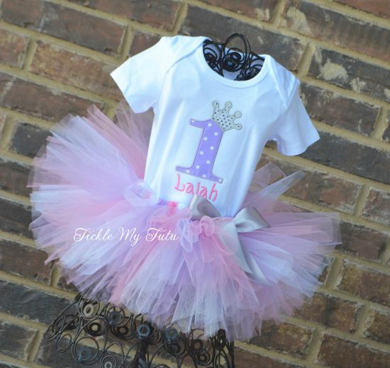 Lilac Polka Dot, Pink, and Silver Birthday Number Crown Tutu Outfit