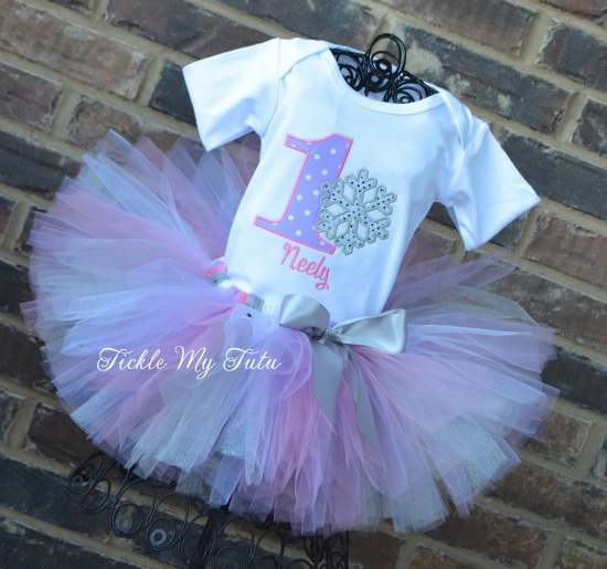 Winter ONEderland Lilac Dot and Pink Snowflake Birthday Tutu Outfit