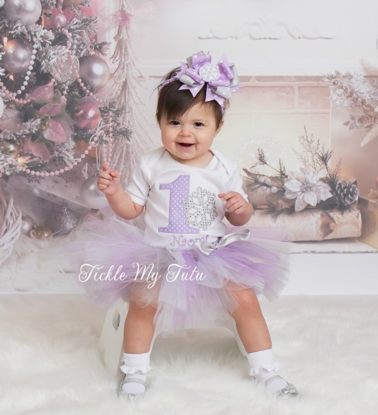 Winter ONEderland Lilac Polka Dot Birthday Tutu Outfit (Naomi)