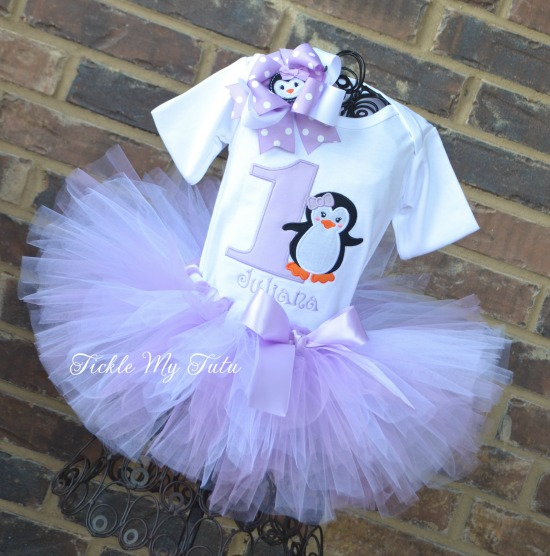 Lilac Penguin Themed Winter ONEderland Birthday Tutu Outfit