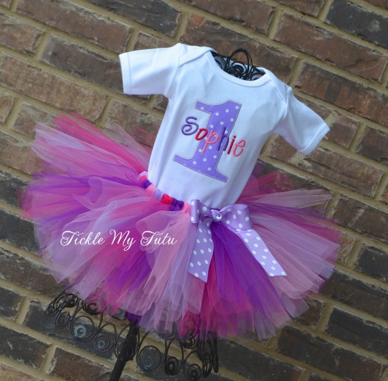 Lilac Polka Dot Birthday Number Tutu Outfit