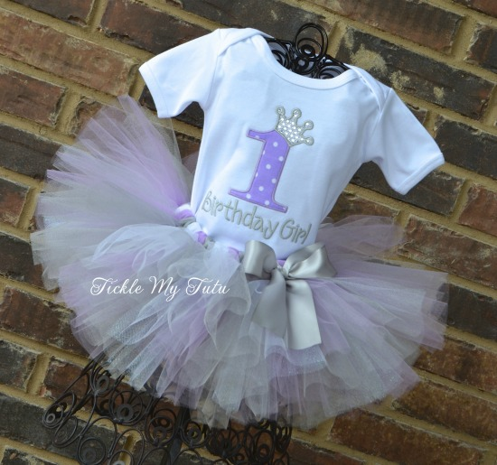 Lilac Polka Dot and Silver Birthday Number Crown Tutu Outfit