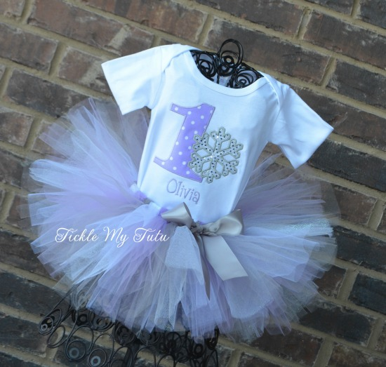 Winter ONEderland Lilac Polka Dot Birthday Tutu Outfit