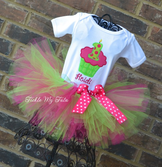 Lime and Hot Pink Cupcake Number Birthday Tutu Outfit