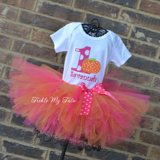 Little Pumpkin (Savannah) Birthday Tutu Outfit (dark pink and orange tutu)