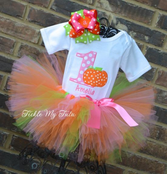 Little Pumpkin Birthday Tutu Outfit (Pink Polka Dot Number)