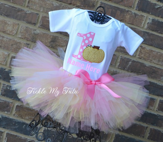 READY TO SHIP  Pink and Gold Pumpkin Birthday Tutu Outfit