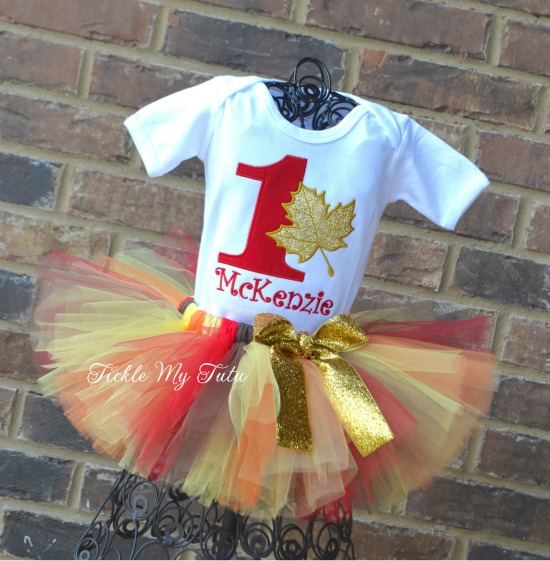 Fall Maple Leaf Birthday Tutu Outfit