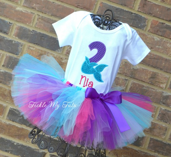 Mermaid Tail Birthday Number Tutu Outfit (Dark Pink Name)