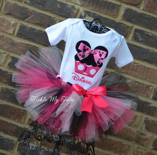 Minnie Mouse Inspired Cupcake Birthday Tutu Outfit
