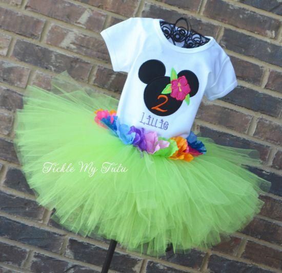 Minnie Mouse Luau Birthday Tutu Outfit