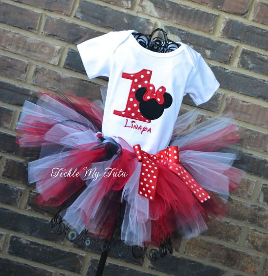 """Minnie Mouse Red Polka Dot Birthday Number """"Linaya"""" Birthday Tutu Outfit"""