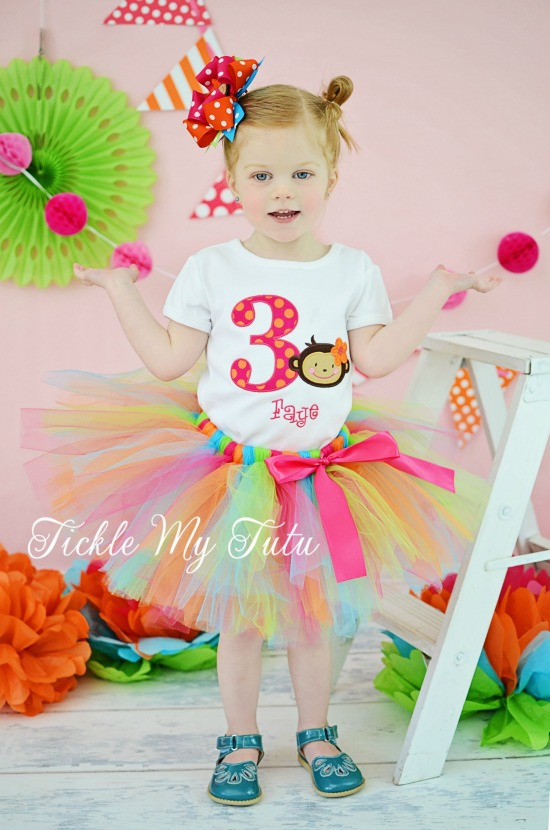 Monkey Love Birthday Number Tutu Outfit (Monkey Face)