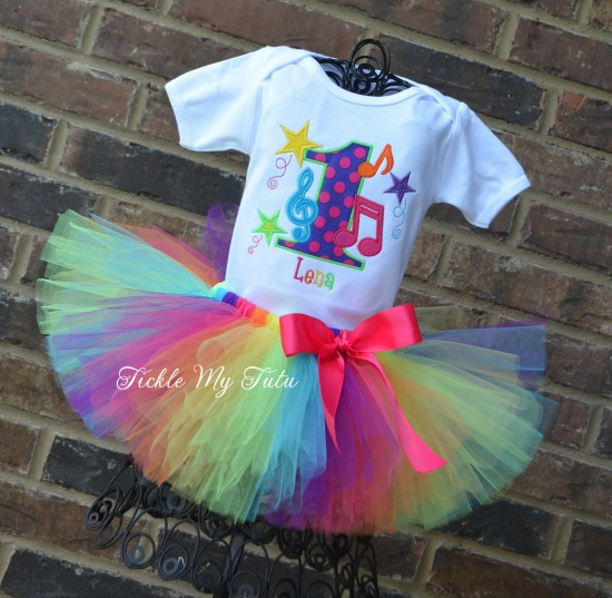 Music Themed Birthday Tutu Outfit (Bright Colors)