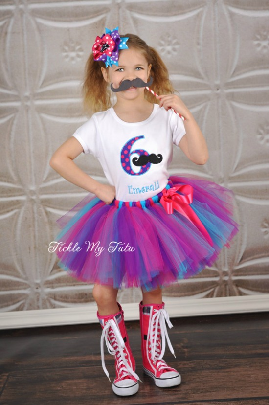 Girly Mustache Bash Birthday Tutu Outfit