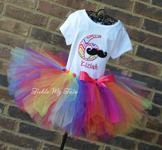 Girly Mustache Bash Birthday Tutu Outfit in Rainbow Chevron Print