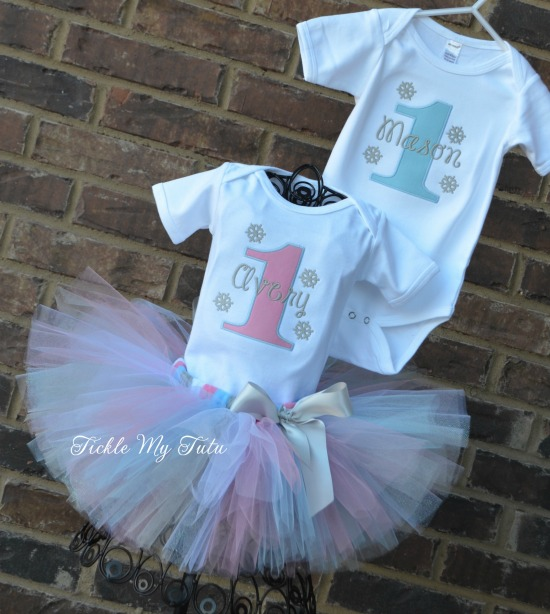 Boy/Girl Twin Winter ONEderland Birthday Set (Pink and Baby Blue) Design Option 2