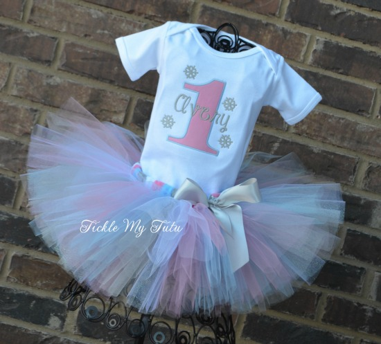Winter ONEderland Pink and Baby Blue Snowflake Birthday Tutu Outfit (Design option 2)