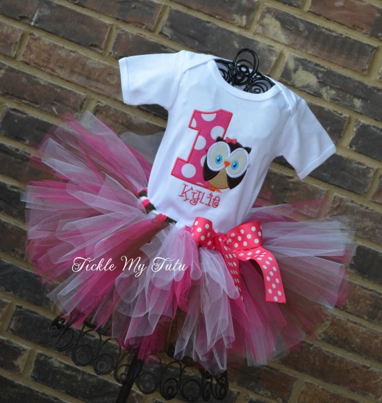 "Whoo's One Owl Themed ""Kylie"" Birthday Tutu Outfit"