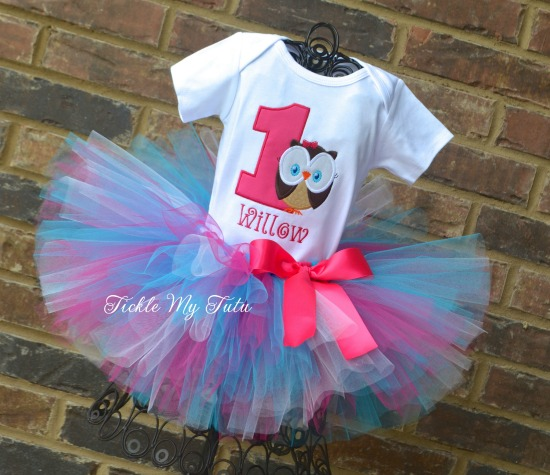 "Whoo's ONE Owl Themed ""Willow"" Birthday Tutu Outfit"