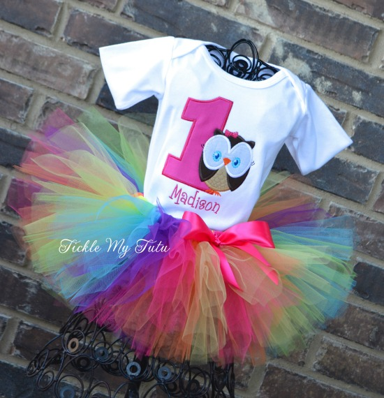 """Whoo's ONE Owl Themed """"Madison"""" Birthday Tutu Outfit"""