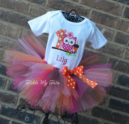Owl with Cupcake Birthday Tutu Outfit
