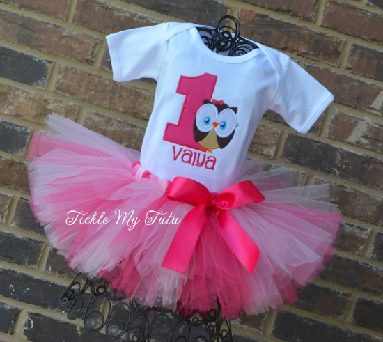 Whoo's ONE Owl Themed Birthday Tutu Outfit (Valya)