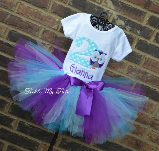 """Whoo's ONE Owl Themed """"Gianna"""" Birthday Tutu Outfit"""