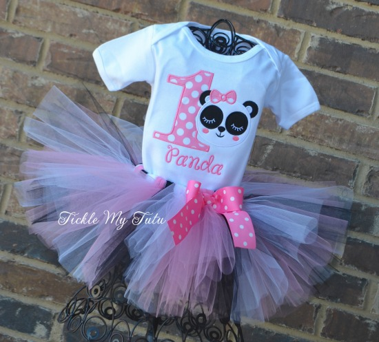 Panda Birthday Tutu Outfit (Girly Panda with Eyelashes Design)