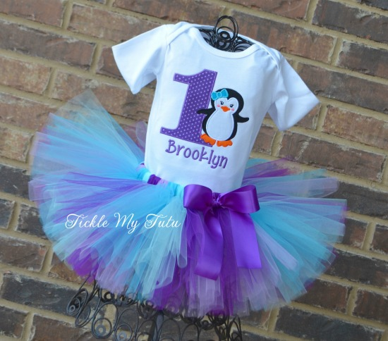 "Penguin Themed Winter ONEderland ""Brooklyn"" Birthday Tutu Outfit"
