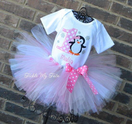 Pink Penguin with Snowflakes Birthday Tutu Outfit