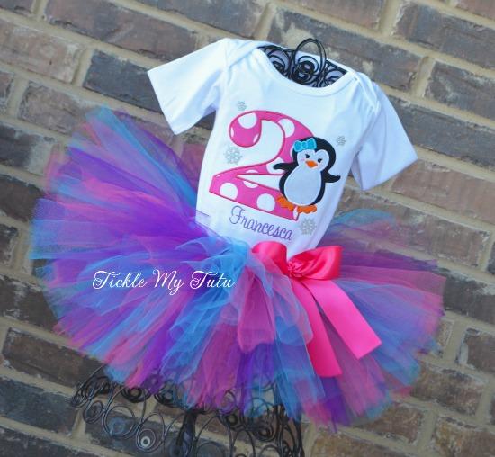 "Penguin Themed Winter ONEderland ""Francesca"" Birthday Tutu Outfit"