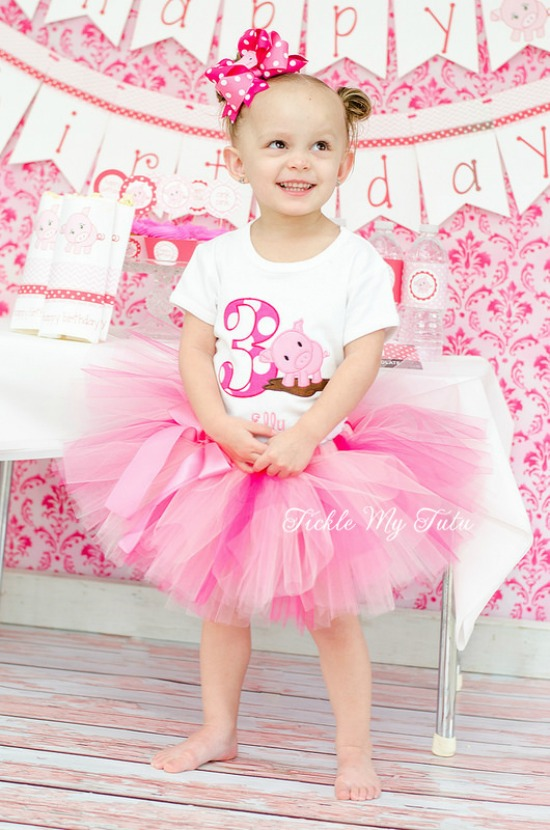 Pink Piggy Birthday Tutu Outfit