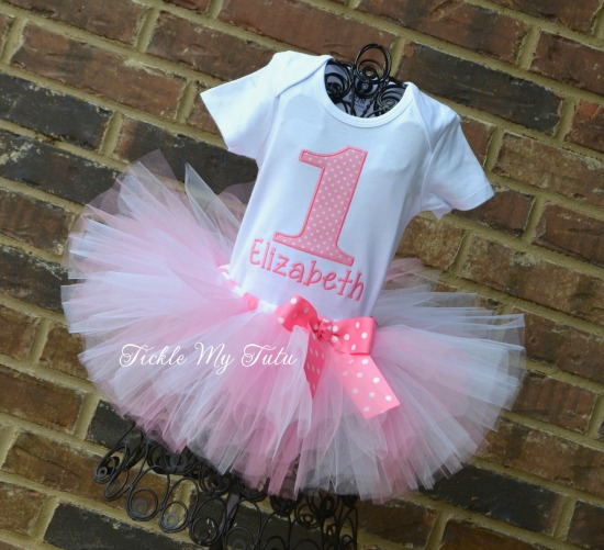 Pink and White Polka Dot Birthday Number Tutu Outfit