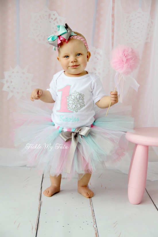 "Winter ONEderland Pink and Aqua ""Karlee"" Snowflake Birthday Tutu Outfit"