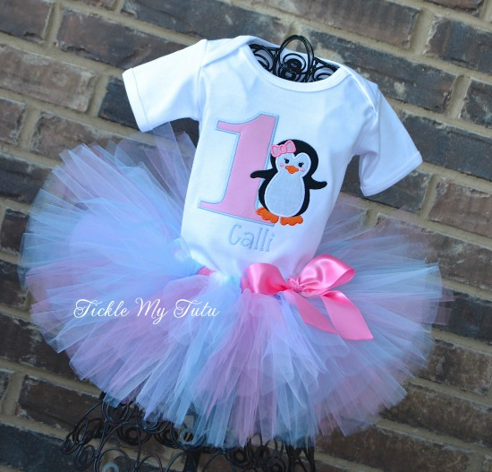 Pink and Baby Blue Penguin Themed Winter ONEderland Birthday Tutu Outfit