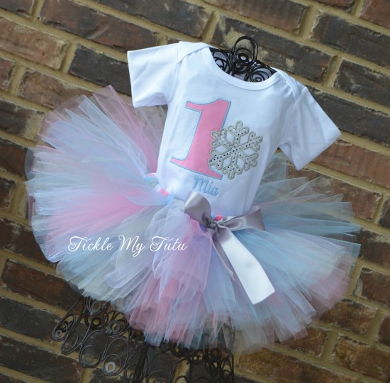 Winter ONEderland Pink and Baby Blue Snowflake Birthday Tutu Outfit